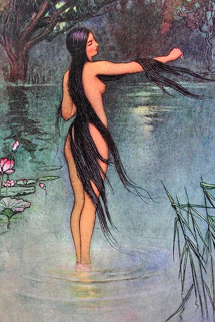 Folk-Tales of Bengal - Warwick Goble (1912) - When she got out of the water, what a change was seen in her! (The bald wife)
