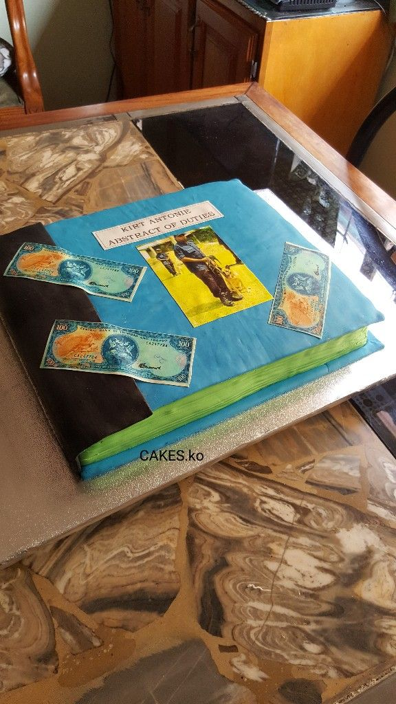 Logbook cake with edible money for Father's Day. Click link to my business page for more of my work.