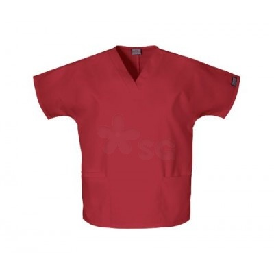 """Red Scrubs HQ top  Dolman sleeve, v-neck tunic with side seam vents, two patch pockets and a cell phone pocket. Center back length 26 1/2"""". This Scrub HQ fabric is made of 65% polyester/poliester - 35% cotton/algodon."""