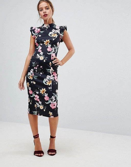 fcc56f03beca ASOS Petite | ASOS PETITE High Neck Pencil Dress With Cut Out Back And  Shoulder Detail in Dark Based Floral Print