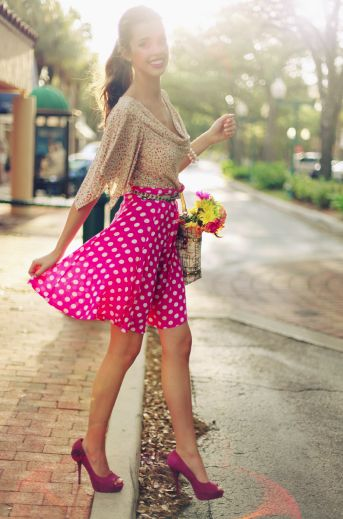 Pink polka dots: Outfits, Pink Polka Dots, Fashion Style, Clothing, Summer Style, Polka Dots Skirts, Dresses, Wardrobes, Closet