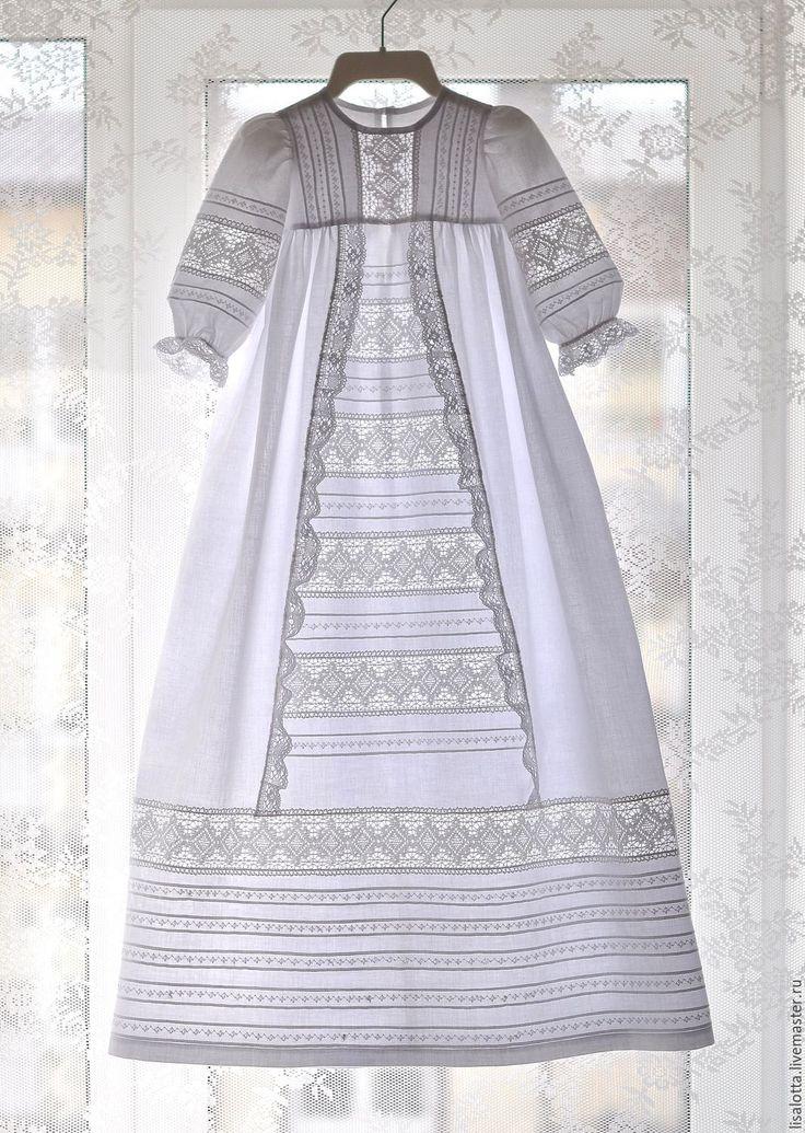 Купить Крестильное платье для девочки - белый, однотонный, крестильное платье, крестильный комплект, крестильный набор