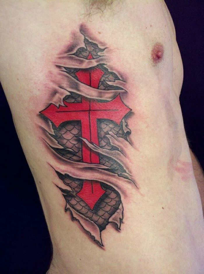 Cross Tattoos For Men with Red and Dragon Skin Pattern