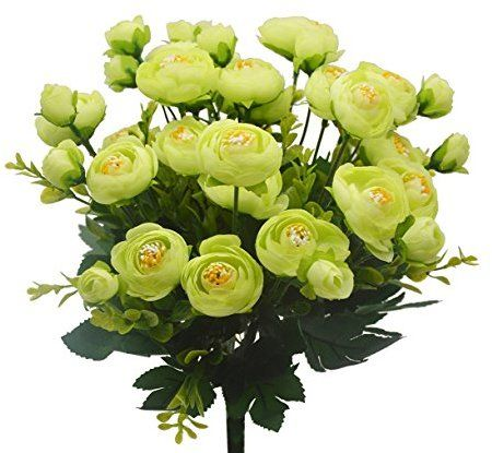 4pcs Artificial Plants Flower Bouquet 6 Heads Silk Camellia Bridal Home Garden Office Dining Table Wedding Decor (Light Green)
