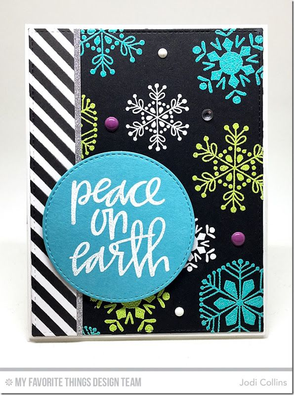 Hand-Lettered Christmas Stamp Set, Snowflake Flurry Stamp Set, Stitched Circle STAX Die-namics, Blueprints 2 Die-namics, Blueprints 13 Die-namics, Diagonal Stripes Stencil - Jodi Collins  #mftstamps