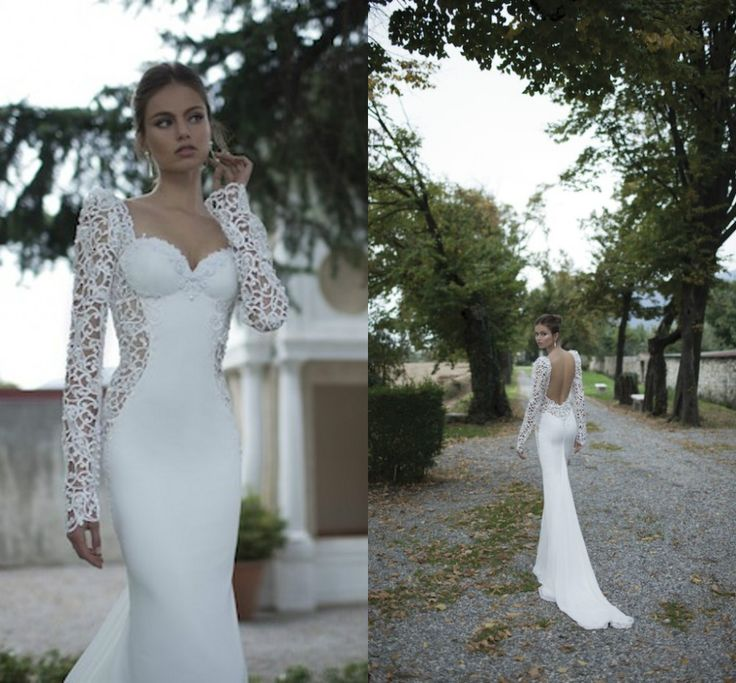 Ivory lace illusion long sleeve open back mermaid berta for Lace winter wedding dresses