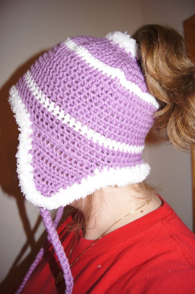 ... around a ponytail band and continued using a basic hat pattern