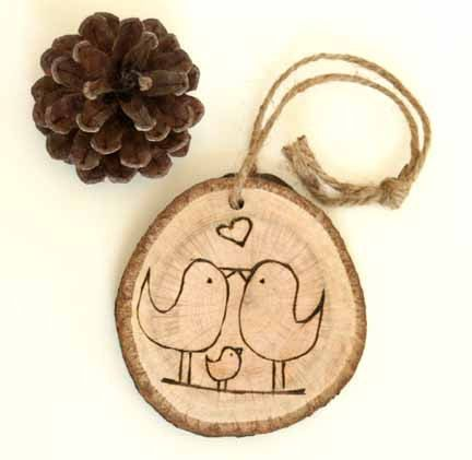 Baby's First Christmas - Rustic Tree Ring Burned with two love birds and baby//I want this with two baby birds!