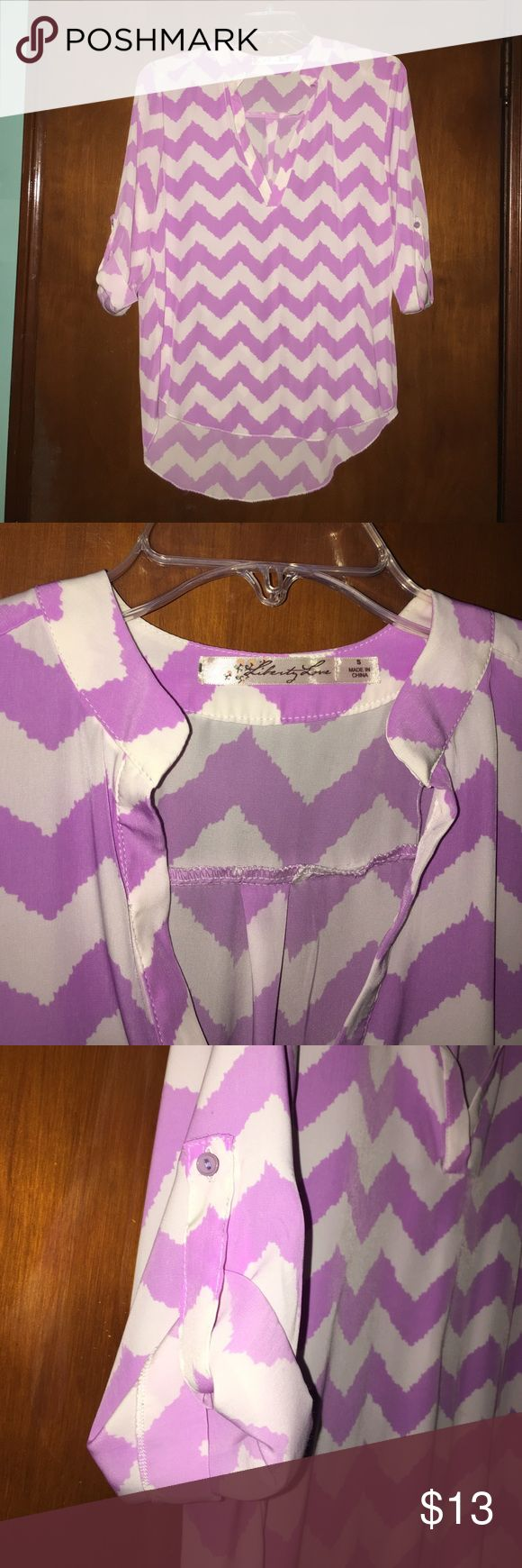 "Chevron Blouse This is a purple & white chevron blouse that is a ""high low""... • this piece is longer in the back & shorter in the front. Tops Blouses"