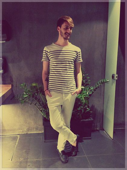 #stripes #beige #tshirt #white