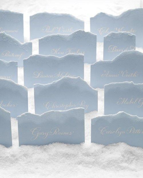 雪のウェディングにて* <青・エレガントな結婚式エスコートカード・席札まとめ一覧>