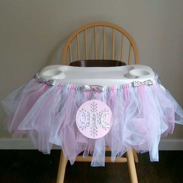First Birthday Highchair Tutu - Winter Onederland - High Chair Banner by TwoPinkElphadees on Etsy
