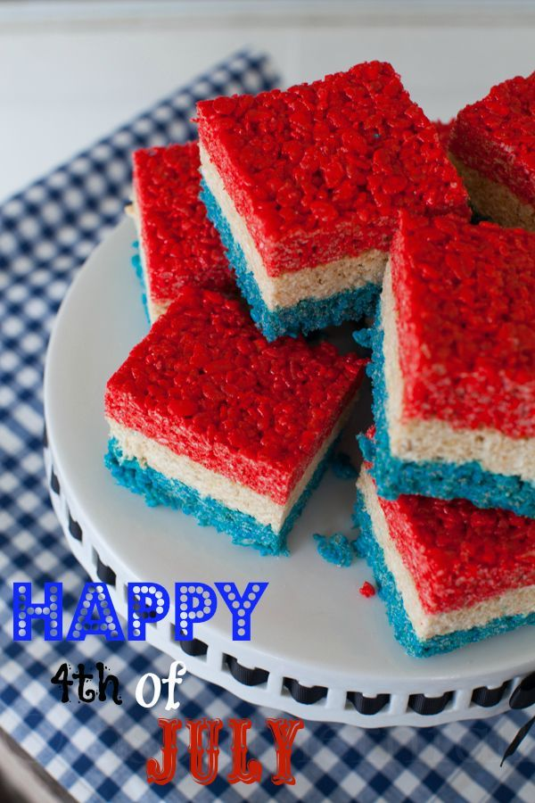 Red White and Blue Rice Krispies Treats from /sthrnfairytale/