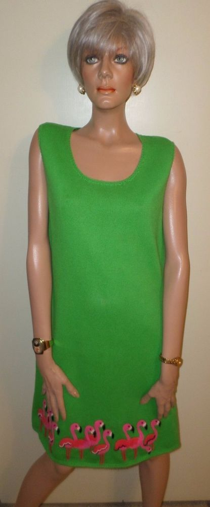 MICHAEL SIMON Green Sleeveless Sweater Dress Pink Beaded Flamingos Bust 38 Sz L  #MichaelSimon #SweaterDress #Versatile