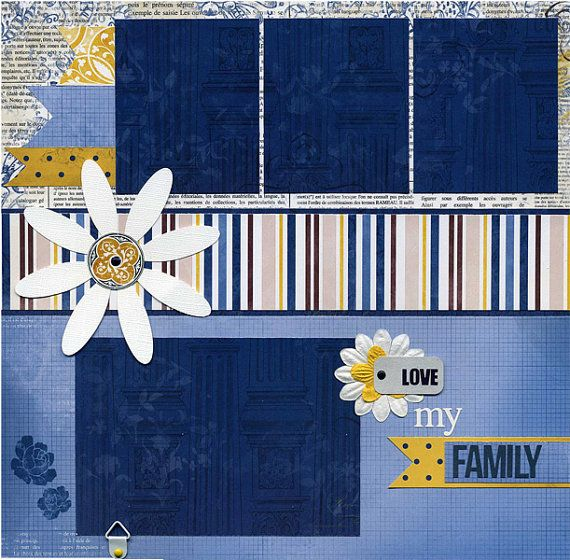 Love My Family Premade Scrapbook Page Set by SusansScrapbookShack