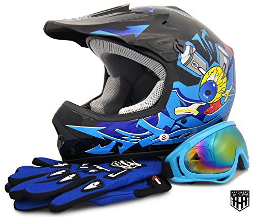 HHH DOT Youth & Kids Helmet for Dirtbike ATV Motocross MX Offroad Motorcyle Street bike Black/Blue, Blue Flame + WITH FREE GLOVES AND GOOGLES (Large, Black/Blue)  Please measure for size. Each manufacturers sizing is different. SIZE CHART (Circumference of the largest part of the child's head, usually just above the eyebrows) in inches: Youth Small: 19.2 to 19.7 to, Youth Medium: 20.1 to 20.5, Youth Large: 20.9 to 21.5, Head shapes can affect how a helmet fits. The size chart is meant ...