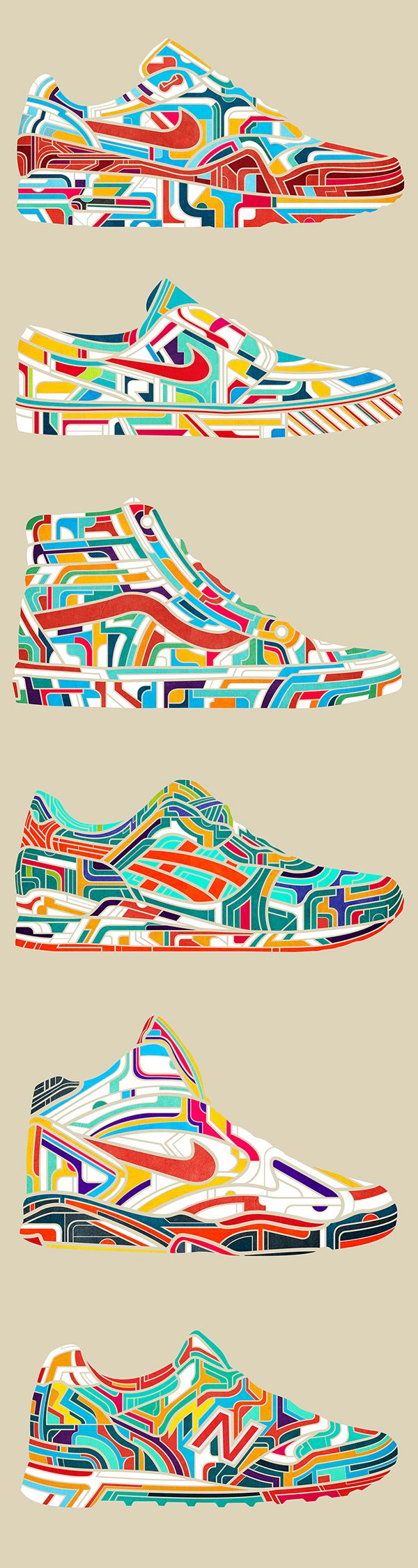 These designs can be hard on the eyes. There is so much going on in each piece it is hard to tell where to start looking and where to stop. It is almost like there is no graceful movement. On the other hand, the design is still very interesting. The different colors used work so well to give the shoe a vibrant neon feel to them. They all have similar features yet they are all so different from one another.