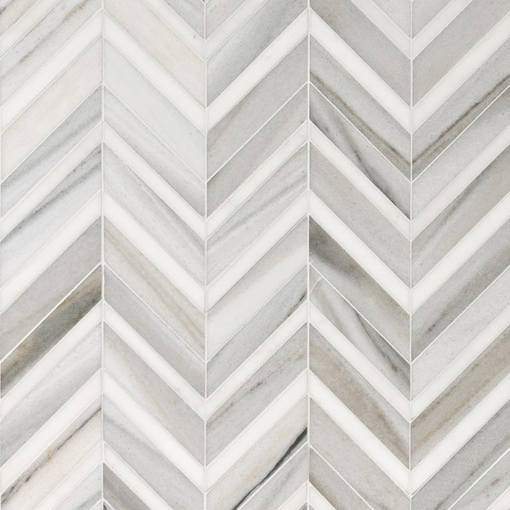 Skyline Light Honed&polished Chevron Fusion Marble Waterjet Decos 16x11 7/8 - Marble System Inc.
