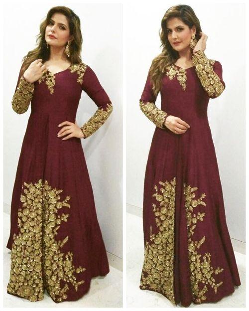 Zareen Khan in a Maroon Coloured Dress
