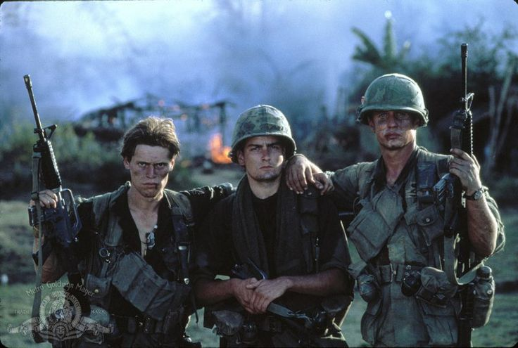 """""""Platoon"""" (1986) directed by Oliver Stone and starring Tom Berenger, Willem Dafoe and Charlie Sheen"""