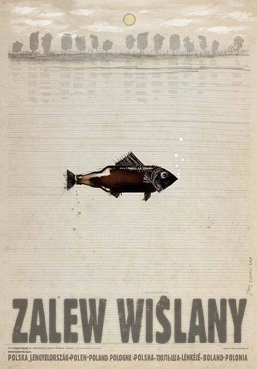 Zalew Wiślany, plakat z serii Polska, Ryszard Kaja