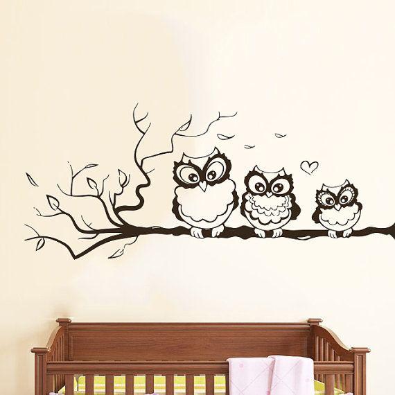 Wall Decals Owl on Branch Childrens Decor Kids Vinyl Sticker Wall Decal Nursery Baby Room Bedroom Murals Playroom - Owl Decor