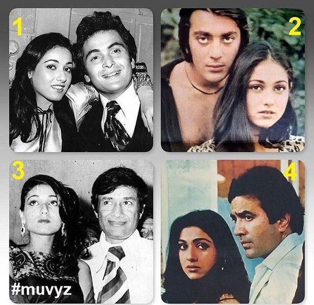 Tina Munim with Rishi Kapoor, Sanjay Dutt, Dev Anand and ...  Tina Munim with...