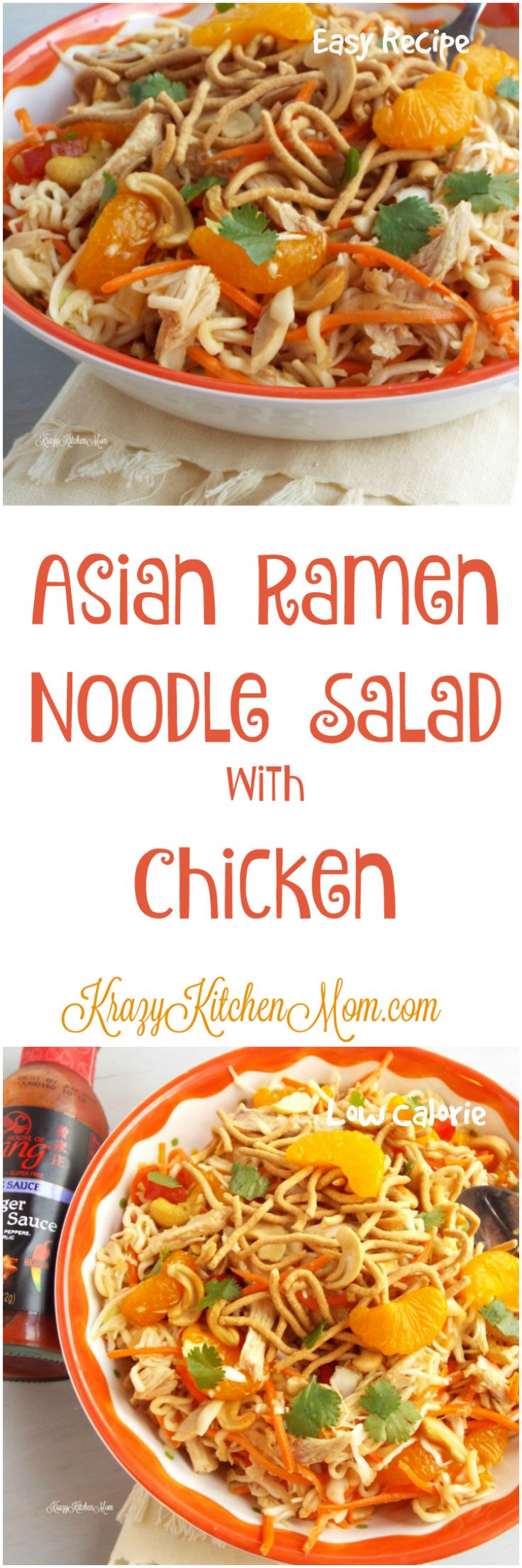 Easy Low Calorie salad made with cabbage, ramen noodles and shredded chicken all tossed in a delicious dressing made with House of Tsang Ginger Sriracha Sauce.