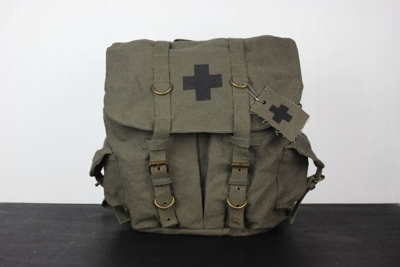 Army Medic Backpack Rucksack Book Bag Olive Drab with Black Cross - Free US Shipping on Etsy, $45.00