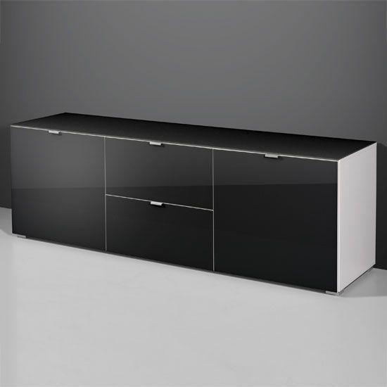 Primera Low TV Unit Sideboard In Black Glass