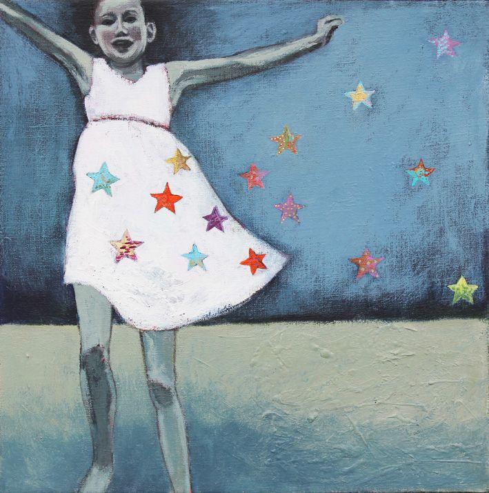 Jag har stjärnor på min klänning, 2015, akryl på duk, Elin Folkesson