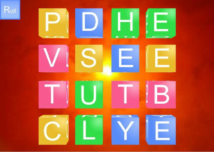 """Free Virtual Boggle Board ~ Simple and fun. Just hit """"Go"""" and """"Roll."""" That's all! (Many thanks to Laura Candler for finding and sharing this idea.)"""
