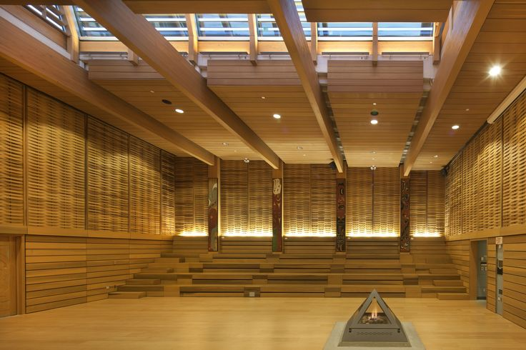 First Peoples House, Victoria, BC,  Ceremonial Hall, Formline Achitecture, Photo: Nic Lehoux