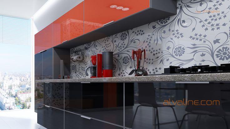 Оранжевый и чёрный цвет на современной кухне