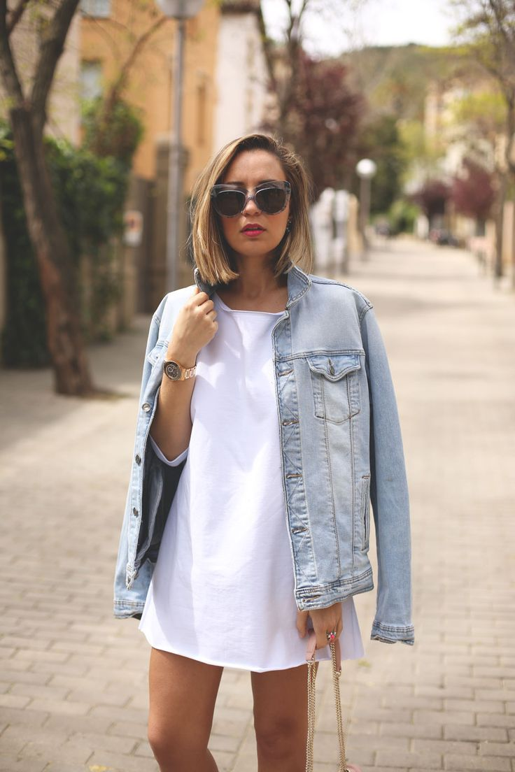denim jacket and white dress: