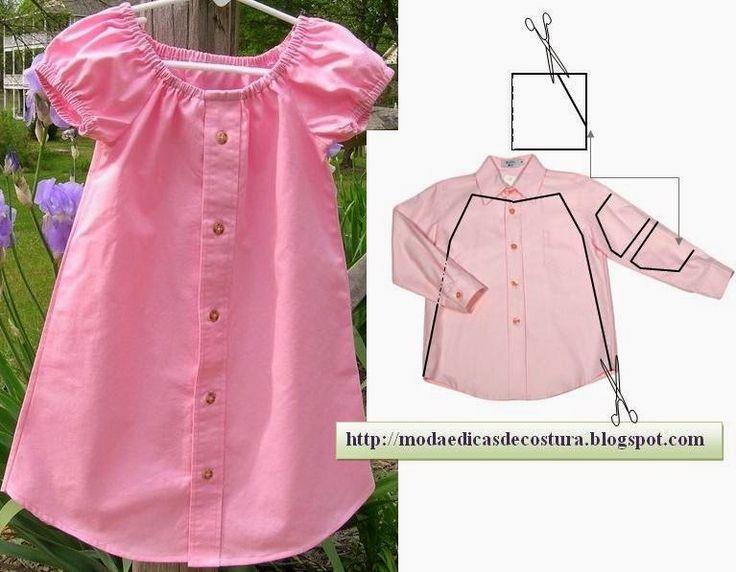 Moda e Dicas de Costura. reciclaje de camisa en vestido de nena