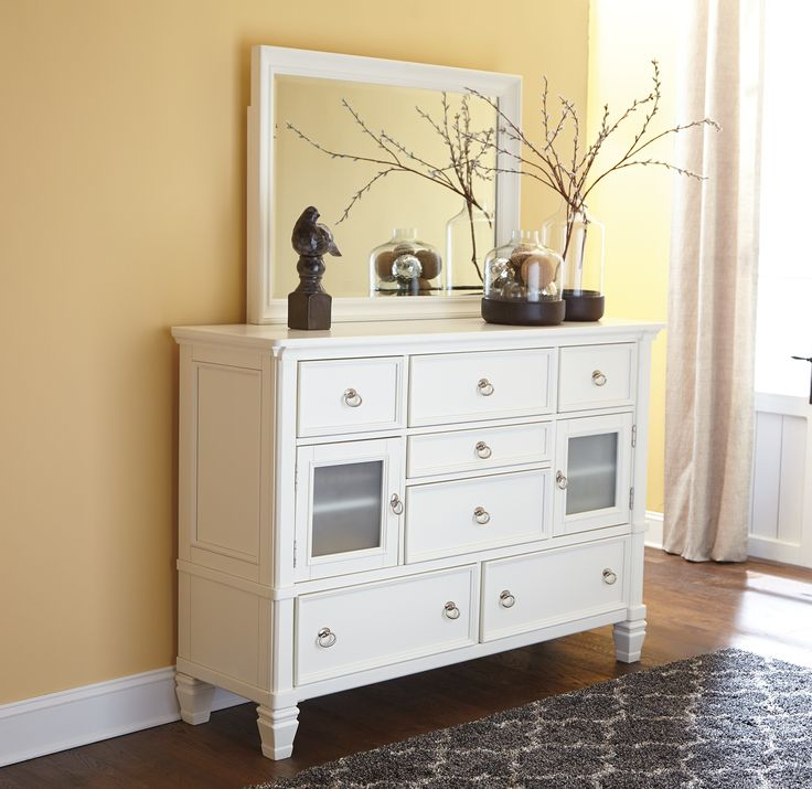 Ashley Prentice B672-31 Millennium Dresser - Tall white dresser with Ball bearing drawer glide system and finished drawer interiors
