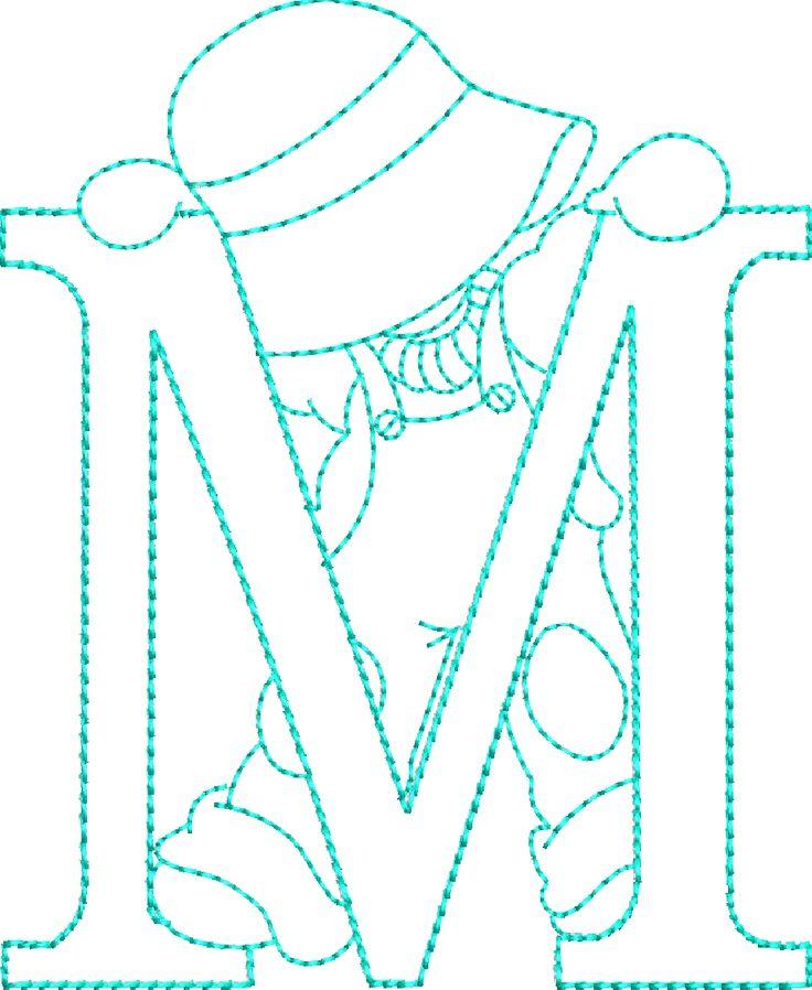 Alfabetos Lindos: Alfabeto riscos ou moldes de letras Sunbonnet Sue bordado