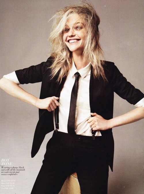 Such a fun shot of this girl in braces and a tie. Beautiful. www.girlinmenswear.com