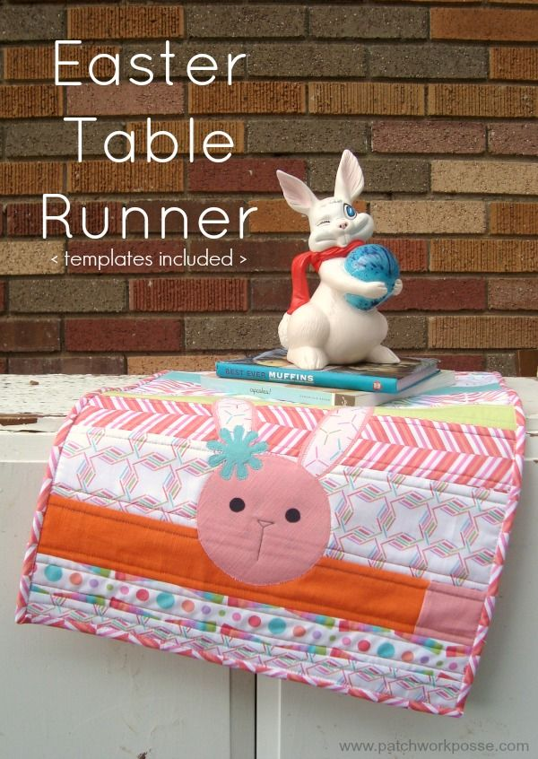 This quilt as you go table runner is great for any time of the year. Quickly sew it and finish it in one day! Free Easter applique printable also included.