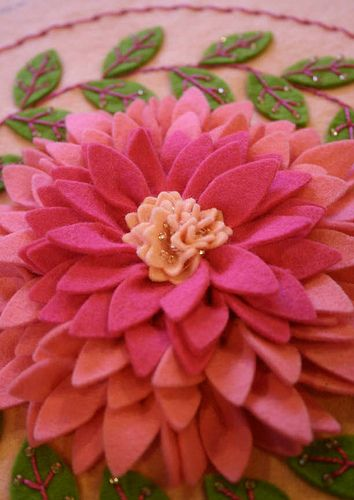 pink dahlia felt embroidery by twinfibers, via Flickr