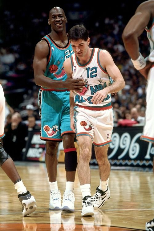 Mike Hams It Up With Stockton, '96 All Star Game.