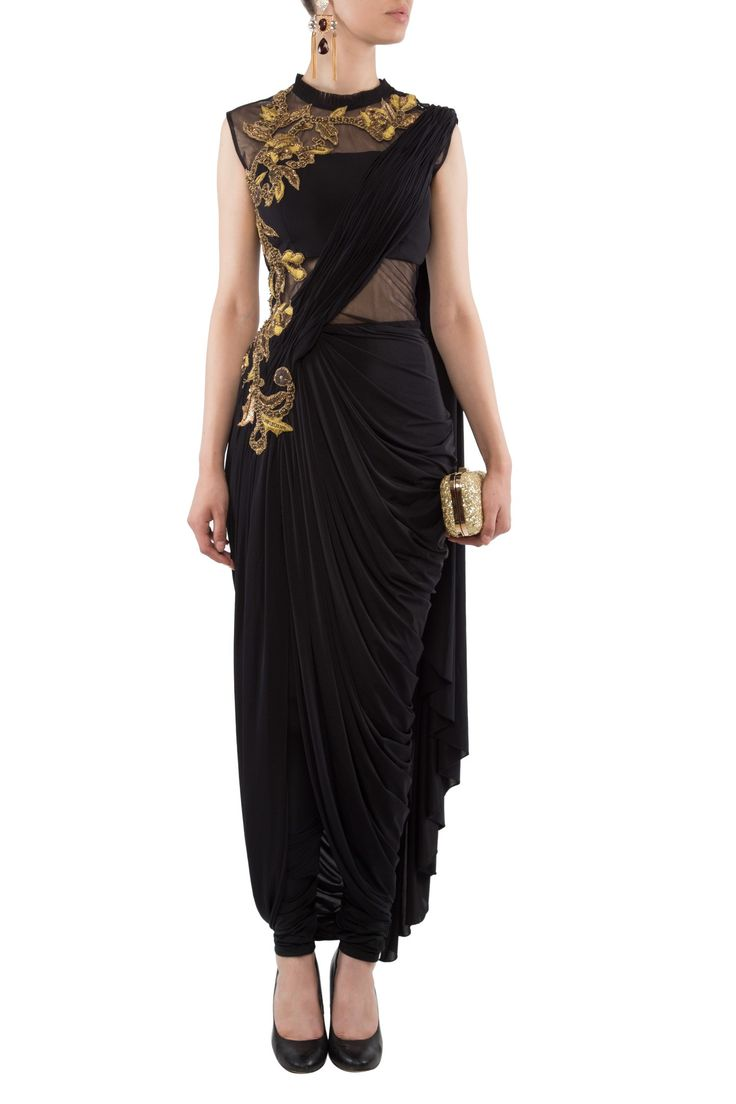 Draped saree with churidar by 1600 A.D. Shop now: http://www.onceuponatrunk.com/designers/1600-a-d #drapes #saree #churidaar #1600ad #black #gold #embroidery #designer #shopnow #onceuponatrunk #fashion #elegance