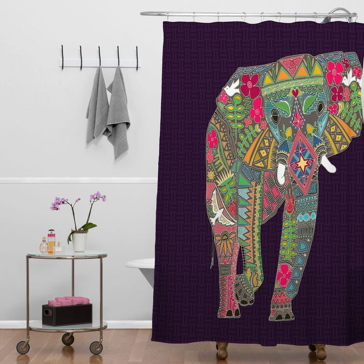 Sharon turner painted elephant shower curtain home home for Elephant bathroom accessories