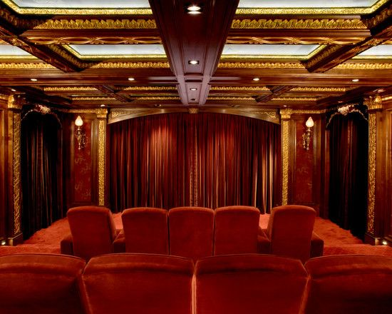 Charming Home Theater Room Design Ideas Red Curtain