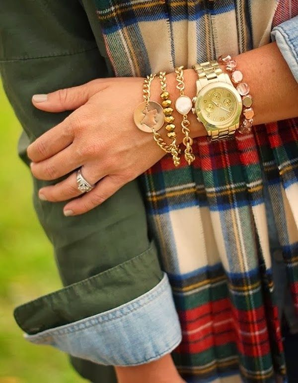 Chambray shirt with green jacket and plaid scarf and dressed up arm candy #preppy #layering