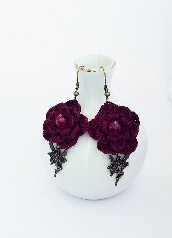 Handcrafted Jewelry Burgundy Crystal Earrings by CatanaHandmade
