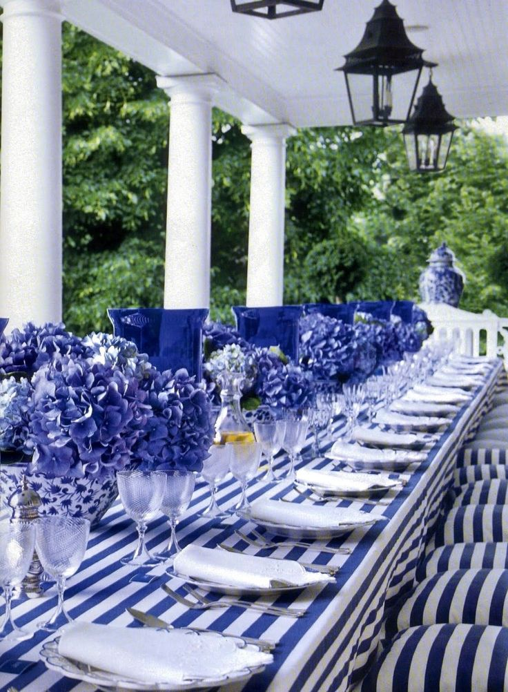 This is a classic yet fun tablescape. It is a little formal but yet whimsical. Great for the 4th just add a pop of red.