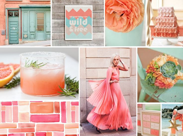 Love the colors: Coral and Mint  wedding inspiration board    Want to add in light yellow!