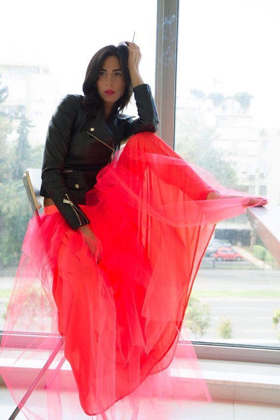 Boho Bohemian Tulle Skirt Neon Skirt Tutu Long Skirt by myscarlet
